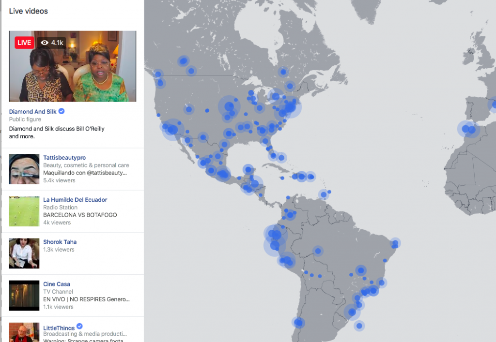 Facebook livestreaming world map