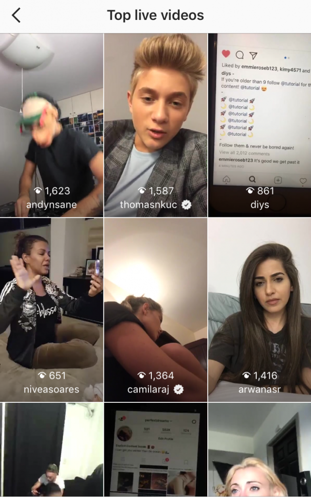 Instagram top  livestreaming videos